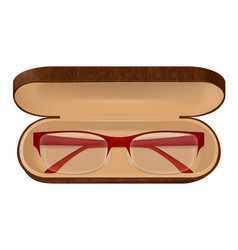 Eyeglasses in case vector