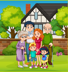 family in front house yard vector image