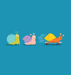 fast and slow snails snail with wheels overtakes vector image