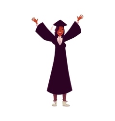 Female student in traditional cap and gown vector