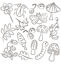 Floral and animal doodle icon set vector image