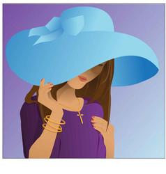 Girl in hat fashion vector