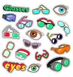 Glasses and Eyes Decorative Elements for Stickers vector image