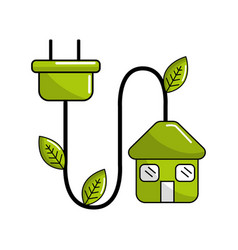 green house with reduce power cable icon vector image