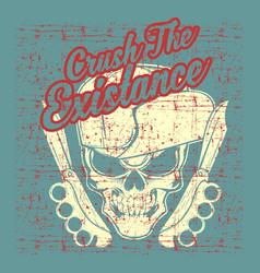 grunge style vintage skull wearing hat hand vector image