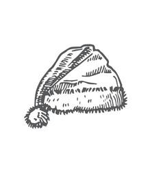 Hand drawn christmas hat vector