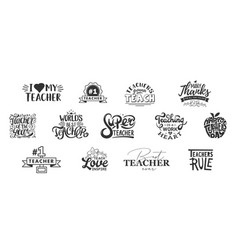 Happy teachers day lettering and typography quote vector