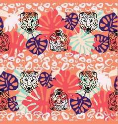 jungle seamless pattern with wild cats vector image