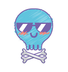 Kawaii cute happy skull with bones vector