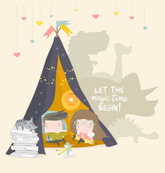 Kids reading book in a teepee tent vector