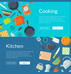 kitchen utensils flat icons horizontal web vector image