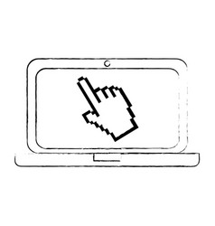 laptop computer with pointer vector image