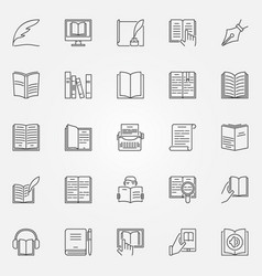Literature icons set vector