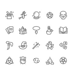 Magic flat line icons witch flying flying on vector
