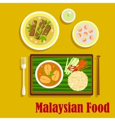 Malaysian cuisine traditional dinner icons vector