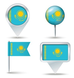 Map pins with flag of Kazakhstan vector