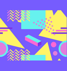 memphis seamless pattern geometric shapes in the vector image