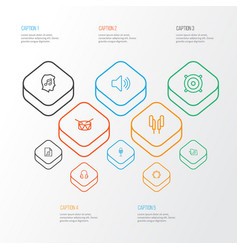 Multimedia outline icons set collection of barrel vector