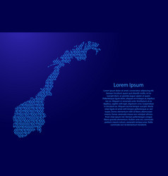 norway map abstract schematic from blue ones and vector image