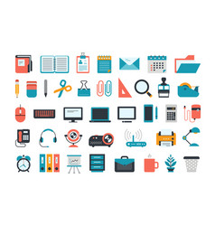 office supplies set of business and office icons vector image