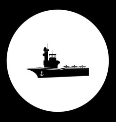 one aircraf carrier simple black icon eps10 vector image