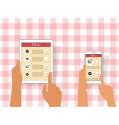 Ordering food using gadgets vector image