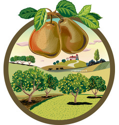 Oval frame with pears in orchard landscape vector