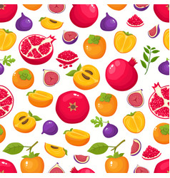Pattern with fig persimmon pomegranate vector