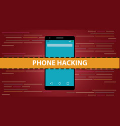 phone hacking concept with smartphone and vector image