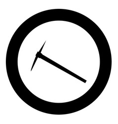 pickaxe black icon in circle isolated vector image