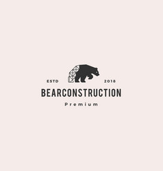 polar bear construction logo hipster retro vector image