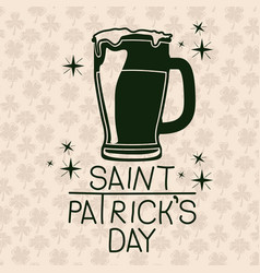 poster saint patricks day with beer mug in green vector image