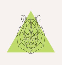 rhinoceros head geometric lines silhouette vector image