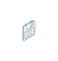 Save data diskette isometric icon 3d line art vector