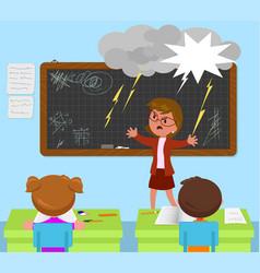 School classroom angry teacher and kids vector