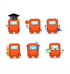 School student among us orange cartoon vector