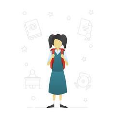 Schoolgirl flat character design vector