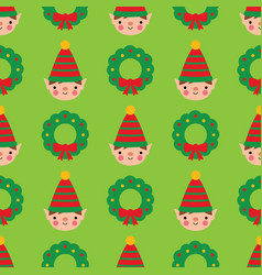 seamless pattern with cute cartoon elf vector image