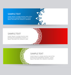Set bright abstract banners red blue and green vector