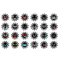 set funny virus emoticons with smiling angry vector image