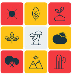 Set of 9 nature icons includes cactus plant vector