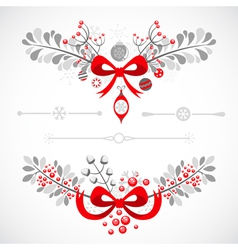 Set of Christmas and New Year decorative elements vector image