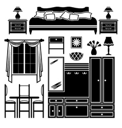 Set of icons of furniture vector image
