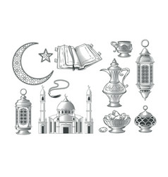 Set of muslim icons for vector
