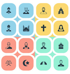 set of simple faith icons vector image