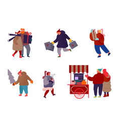 set people characters with holiday scenes on vector image