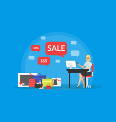 shopping online young woman taking part in vector image