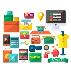 Shopping Related Objects Set vector