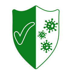 sign protection from viruses shield with a vector image