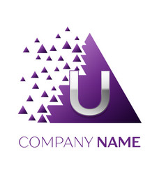 silver letter u logo in the purple pixel triangle vector image